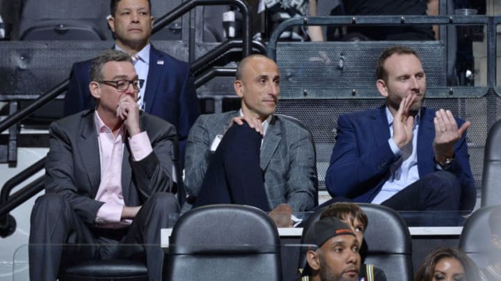 SAN ANTONIO, TX - MARCH 28: RC Buford, Manu Ginobili, and Sean Marks attend a game between the San Antonio Spurs and Cleveland Cavaliers on March 28, 2018 at the AT&T Center in San Antonio, Texas. NOTE TO USER: User expressly acknowledges and agrees that, by downloading and or using this photograph, user is consenting to the terms and conditions of the Getty Images License Agreement. Mandatory Copyright Notice: Copyright 2018 NBAE (Photos by Mark Sobhani/NBAE via Getty Images)