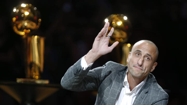 SAN ANTONIO, TX – MARCH 28: Manu Ginobili acknowledges the San Antonio Spurs fans during his retirement party after the Spurs game against the Cleveland Cavaliers at AT&T Center in 2019. (Photo by Ronald Cortes/Getty Images)