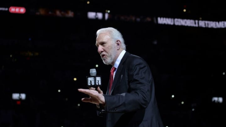 SAN ANTONIO, TX - MARCH 28: Head Coach Gregg Popovich of the San Antonio Spurs gives a speech during the Jersey Retirement Ceremony of San Antonio Spurs Retired Player Manu Ginobili on March 28, 2018 at the AT&T Center in San Antonio, Texas. NOTE TO USER: User expressly acknowledges and agrees that, by downloading and or using this photograph, user is consenting to the terms and conditions of the Getty Images License Agreement. Mandatory Copyright Notice: Copyright 2018 NBAE (Photos by Mark Sobhani/NBAE via Getty Images)