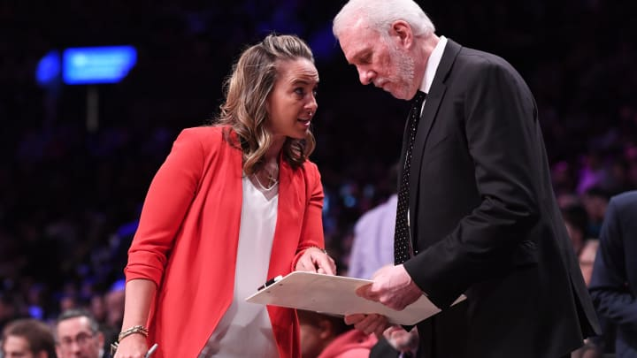 NEW YORK, NY – FEBRUARY 25: Assistant coach Becky Hammon with Gregg Popovich of the San Antonio Spurs during the game against the Brooklyn Nets at Barclays Center. (Photo by Matteo Marchi/Getty Images)