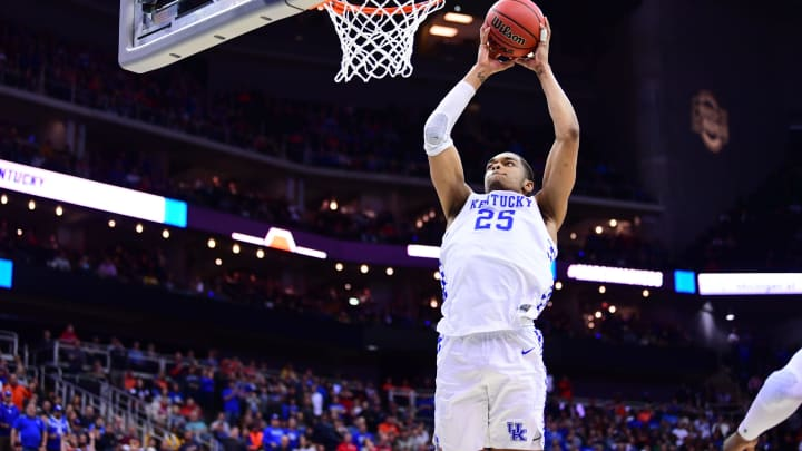 KANSAS CITY, MO – MARCH 31: PJ Washington #25 of the Kentucky Wildcats goes up for a dunk against the Auburn Tigers in the Elite Eight (Photo by Ben Solomon/NCAA Photos via Getty Images)