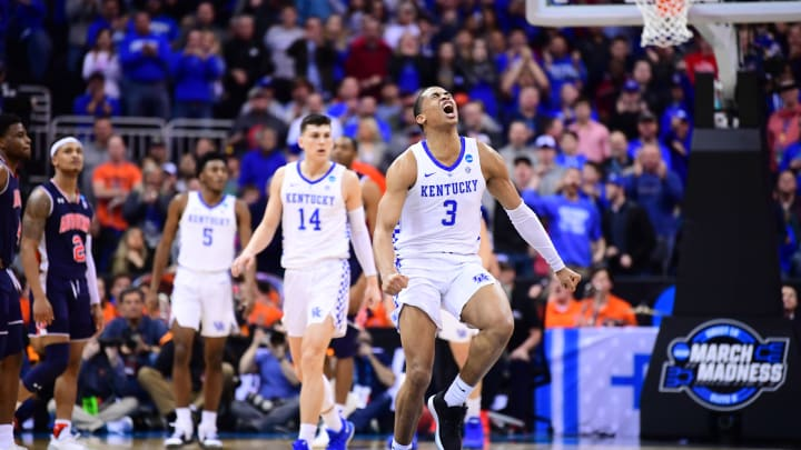 KANSAS CITY, MO – MARCH 31: Future San Antonio Spurs wing Keldon Johnson #3 reacts to a play against the Auburn Tigers in the Elite Eight round of the 2019 NCAA Men's Basketball Tournament held at Sprint Center on March 31, 2019 in Kansas City, Missouri. (Photo by Ben Solomon/NCAA Photos via Getty Images)