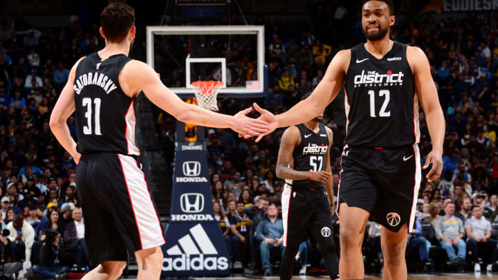 DENVER, CO – MARCH 31: Tomas Satoransky #31 hi-fives Jabari Parker #12 of the Washington Wizards on March 31, 2019 at the Pepsi Center in Denver, Colorado. (Photo by Bart Young/NBAE via Getty Images)