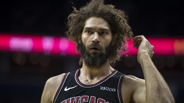 WASHINGTON, DC – APRIL 03: Robin Lopez #42 of the Chicago Bulls looks on against the Washington Wizards during the second half at Capital One Arena on April 3, 2019 in Washington, DC. (Photo by Scott Taetsch/Getty Images)