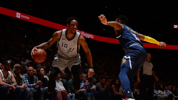 DENVER, CO - APRIL 3: DeMar DeRozan #10 of the San Antonio Spurs handles the ball during the game against the Denver Nuggets on April 3, 2019 at the Pepsi Center in Denver, Colorado. NOTE TO USER: User expressly acknowledges and agrees that, by downloading and/or using this Photograph, user is consenting to the terms and conditions of the Getty Images License Agreement. Mandatory Copyright Notice: Copyright 2019 NBAE (Photo by Bart Young/NBAE via Getty Images)