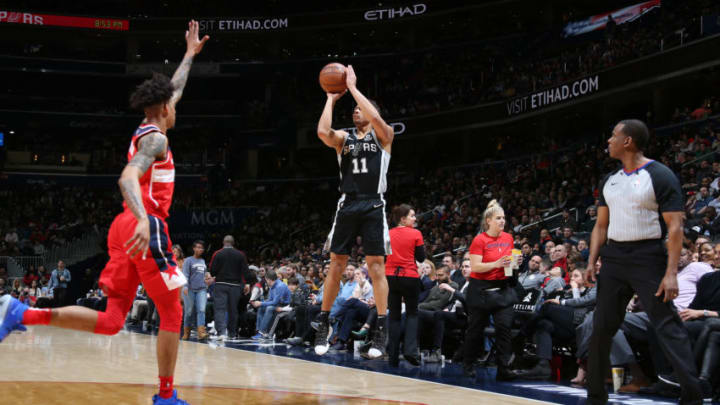 WASHINGTON, DC - APRIL 5: Bryn Forbes #11 of the San Antonio Spurs shoots the ball against the Washington Wizards on April 5, 2019 at Capital One Arena in Washington, DC. NOTE TO USER: User expressly acknowledges and agrees that, by downloading and or using this Photograph, user is consenting to the terms and conditions of the Getty Images License Agreement. Mandatory Copyright Notice: Copyright 2019 NBAE (Photo by Stephen Gosling/NBAE via Getty Images)