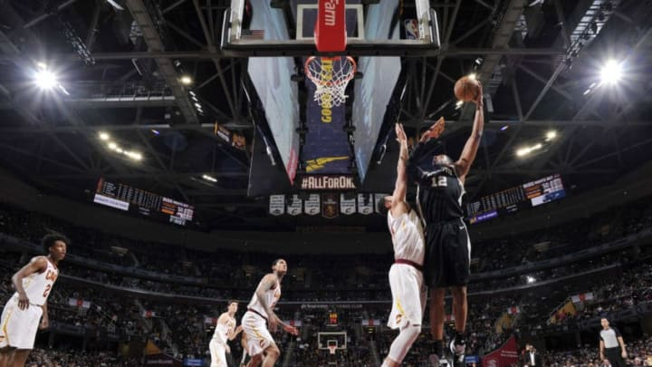 CLEVELAND, OH - APRIL 7: LaMarcus Aldridge #12 of the San Antonio Spurs shoots the ball against the Cleveland Cavaliers on April 7, 2019 at Quicken Loans Arena in Cleveland, Ohio. NOTE TO USER: User expressly acknowledges and agrees that, by downloading and/or using this Photograph, user is consenting to the terms and conditions of the Getty Images License Agreement. Mandatory Copyright Notice: Copyright 2019 NBAE (Photo by David Liam Kyle/NBAE via Getty Images)