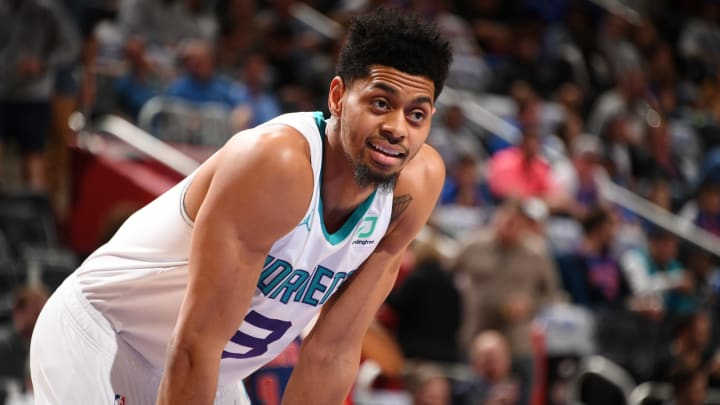 DETROIT, MI – APRIL 7: Jeremy Lamb #3 of the Charlotte Hornets looks on during the game against the Detroit Pistons on April 7, 2019 at Little Caesars Arena in Detroit, Michigan. (Photo by Chris Schwegler/NBAE via Getty Images)