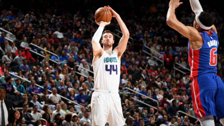 DETROIT, MI - APRIL 7: Frank Kaminsky #44 of the Charlotte Hornets shoots the ball against the Detroit Pistons on April 7, 2019 at Little Caesars Arena in Detroit, Michigan. NOTE TO USER: User expressly acknowledges and agrees that, by downloading and/or using this photograph, User is consenting to the terms and conditions of the Getty Images License Agreement. Mandatory Copyright Notice: Copyright 2019 NBAE (Photo by Chris Schwegler/NBAE via Getty Images)