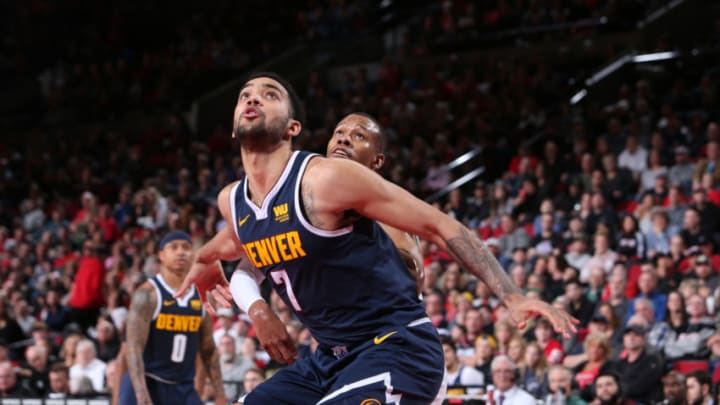 PORTLAND, OR - APRIL 7: Trey Lyles #7 of the Denver Nuggets boxes out against the Portland Trail Blazers (Photo by Sam Forencich/NBAE via Getty Images)