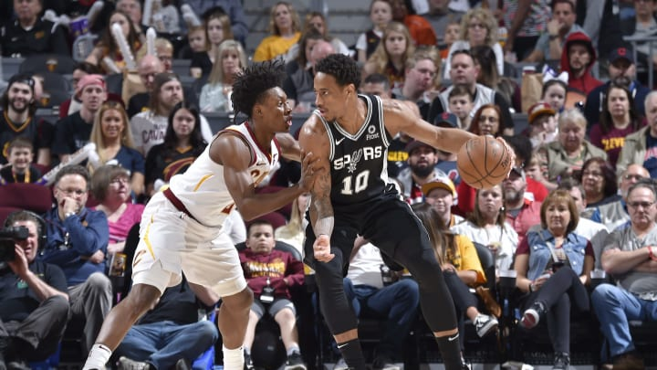 CLEVELAND, OH – APRIL 7: DeMar DeRozan #10 of the San Antonio Spurs handles the ball against the Cleveland Cavaliers on April 7, 2019 at Quicken Loans Arena in Cleveland, Ohio. (Photo by David Liam Kyle/NBAE via Getty Images)