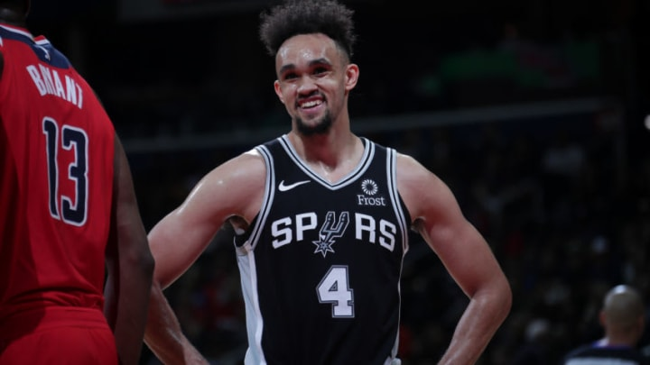 WASHINGTON, DC - APRIL 5: Derrick White #4 of the San Antonio Spurs smiles during the game against the Washington Wizards (Photo by Ethan Stoler/NBAE via Getty Images)