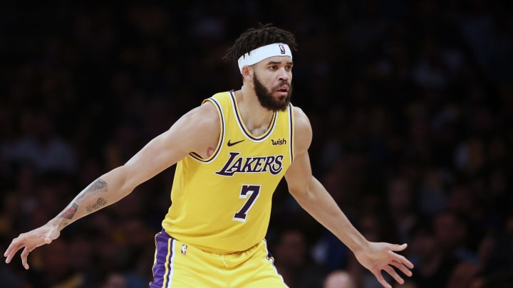 LOS ANGELES, CA – APRIL 4: JaVale McGee (7) of the Los Angeles Lakers is seen on defense during a game against the Golden State Warriors on April 4, 2019 at STAPLES Center in Los Angeles, California. (Photo by Chris Elise/NBAE via Getty Images)