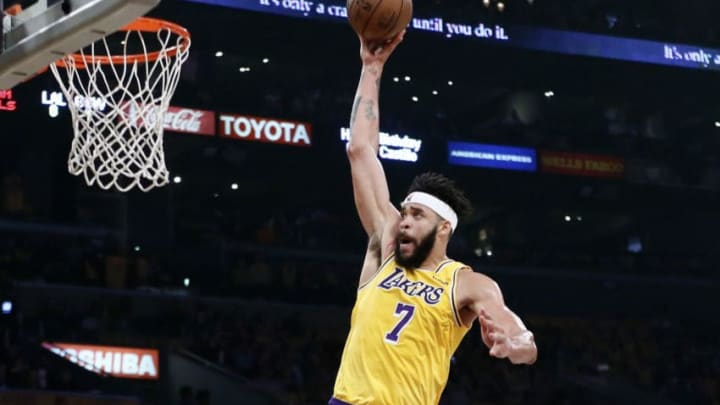 LOS ANGELES, CA - APRIL 4: JaVale McGee (7) of the Los Angeles Lakers goes for the dunk during a game against the Golden State Warriors on April 4, 2019 at STAPLES Center in Los Angeles, California. NOTE TO USER: User expressly acknowledges and agrees that, by downloading and/or using this Photograph, user is consenting to the terms and conditions of the Getty Images License Agreement. Mandatory Copyright Notice: Copyright 2019 NBAE (Photo by Chris Elise/NBAE via Getty Images)