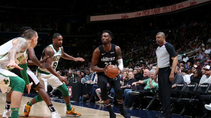 WASHINGTON, DC –APRIL 9: Jeff Green #32 of the Washington Wizards handles the ball against the Boston Celtics on April 9, 2019 at Capital One Arena in Washington, DC. (Photo by Stephen Gosling/NBAE via Getty Images)