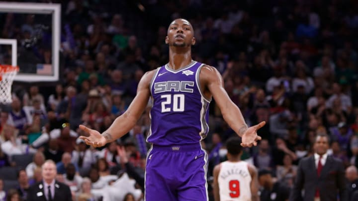 SACRAMENTO, CA - MARCH 17: Harry Giles III #20 of the Sacramento Kings pumps up the crowd during the game against the Chicago Bulls at Golden 1 Center on March 17, 2019 in Sacramento, California. NOTE TO USER: User expressly acknowledges and agrees that, by downloading and or using this photograph, User is consenting to the terms and conditions of the Getty Images License Agreement. (Photo by Lachlan Cunningham/Getty Images)