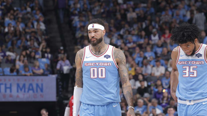 SACRAMENTO, CA – APRIL 7: Willie Cauley-Stein #00 of the Sacramento Kings looks on during the game against the New Orleans Pelicans on April 7, 2019 at Golden 1 Center in Sacramento, California. (Photo by Rocky Widner/NBAE via Getty Images)