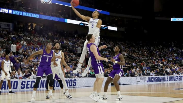 JACKSONVILLE, FLORIDA - MARCH 21: Keldon Johnson #3 of the Kentucky Wildcats attempts a shot over Hayden Farquhar #15 of the Abilene Christian Wildcats in the first half during the first round of the 2019 NCAA Men's Basketball Tournament at Jacksonville Veterans Memorial Arena on March 21, 2019 in Jacksonville, Florida. (Photo by Sam Greenwood/Getty Images)