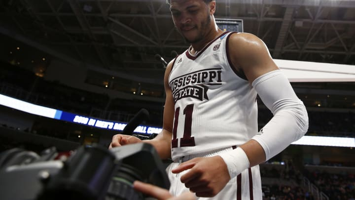 SAN JOSE, CALIFORNIA – MARCH 22: Quinndary Weatherspoon #11 of the Mississippi State Bulldogs reacts against the Liberty Flames during the First Round of the NCAA Basketball Tournament (Photo by Yong Teck Lim/Getty Images)