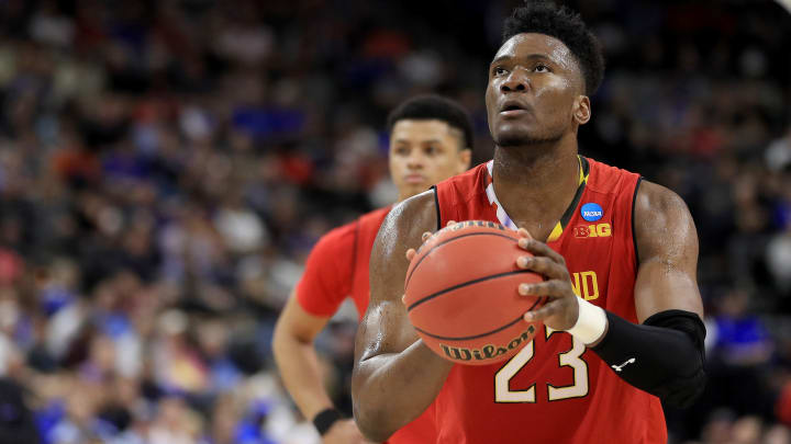 JACKSONVILLE, FLORIDA – MARCH 23: Bruno Fernando #23 of the Maryland Terrapins shoots a free throw against the LSU Tigers during the second half of the game in the second round of the 2019 NCAA Men's Basketball Tournament at Vystar Memorial Arena on March 23, 2019 in Jacksonville, Florida. (Photo by Mike Ehrmann/Getty Images)