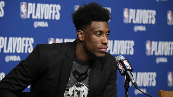 BOSTON, MA – APRIL 17: Thaddeus Young #21 of the Indiana Pacers speaks with the media after Game Two of Round One of the 2019 NBA Playoffs against the Boston Celtics (Photo by Brian Babineau/NBAE via Getty Images)