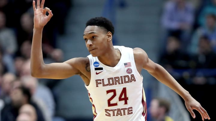 HARTFORD, CONNECTICUT – MARCH 23: San Antonio Spurs draft prospect Devin Vassell #24 of the Florida State Seminoles celebrates his basket against the Murray State Racers in the first half during the second round of the 2019 NCAA Men's Basketball Tournament at XL Center on March 23, 2019 in Hartford, Connecticut. (Photo by Rob Carr/Getty Images)