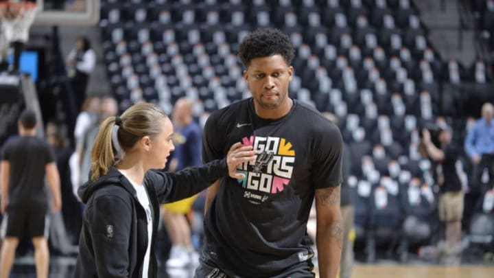 SAN ANTONIO, TX - APRIL 18: Assistant Coach Becky Hammon warms up with Rudy Gay #22 of the San Antonio Spurs prior to Game Three of Round 1 of the 2019 NBA Playoffs against the Denver Nuggets on April 18, 2019 at the AT&T Center in San Antonio, Texas. NOTE TO USER: User expressly acknowledges and agrees that, by downloading and or using this photograph, user is consenting to the terms and conditions of the Getty Images License Agreement. Mandatory Copyright Notice: Copyright 2019 NBAE (Photos by Mark Sobhani/NBAE via Getty Images)