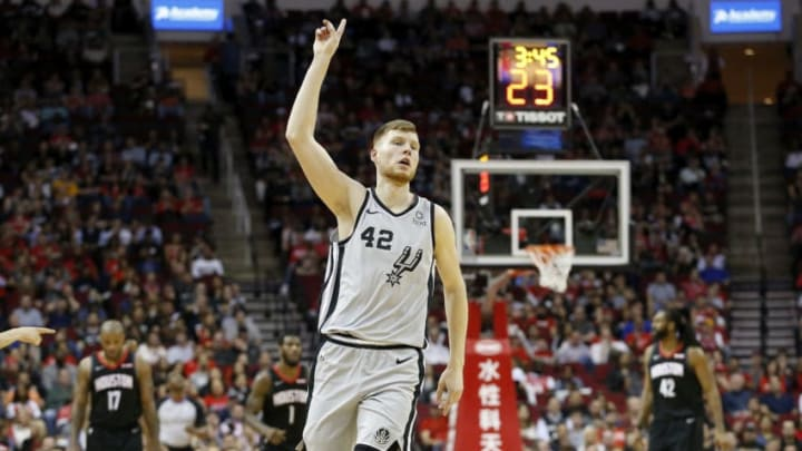 HOUSTON, TX - MARCH 22: Davis Bertans #42 of the San Antonio Spurs reacts after a foul in the first half against the Houston Rockets at Toyota Center on March 22, 2019 in Houston, Texas. NOTE TO USER: User expressly acknowledges and agrees that, by downloading and or using this photograph, User is consenting to the terms and conditions of the Getty Images License Agreement. (Photo by Tim Warner/Getty Images)