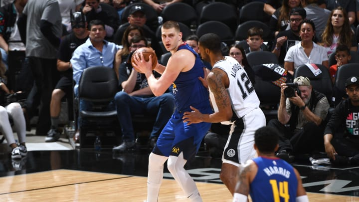 SAN ANTONIO, TX – APRIL 20: Nikola Jokic #15 of the Denver Nuggets handles the ball against the San Antonio Spurs during Game Four of Round One of the 2019 NBA Playoffs on April 20, 2019 at the AT&T Center in San Antonio, Texas. (Photo by Garrett Ellwood/NBAE via Getty Images)