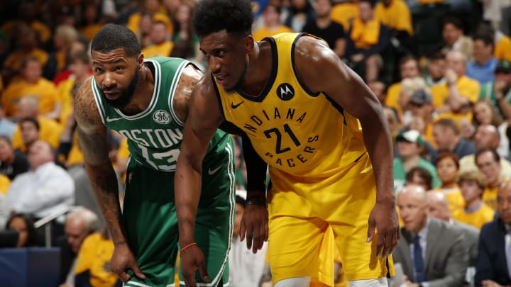 INDIANAPOLIS, IN – APRIL 21: Marcus Morris #13 of the Boston Celtics plays defense against Thaddeus Young #21 of the Indiana Pacers during Game 4 of Round One of the 2019 Playoffs (Photo by Jeff Haynes/NBAE via Getty Images)