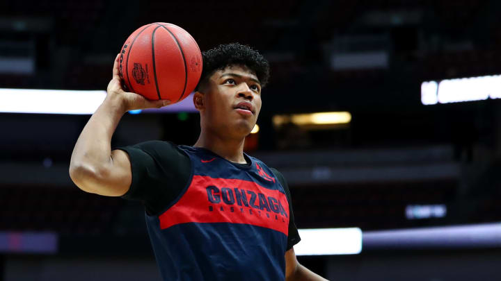 ANAHEIM, CALIFORNIA – MARCH 27: Rui Hachimura #21 of the Gonzaga Bulldogs drives to the basket during a practice session ahead of the 2019 NCAA Men's Basketball Tournament (Photo by Yong Teck Lim/Getty Images)