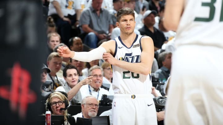 SALT LAKE CITY, UT – APRIL 22: Potential San Antonio Spurs trade target Kyle Korver #26 of the Utah Jazz looks on against the Houston Rockets during Game Four of Round One of the 2019 NBA Playoffs on April 22, 2019 at vivint.SmartHome Arena in Salt Lake City, Utah. (Photo by Melissa Majchrzak/NBAE via Getty Images)