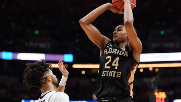 ANAHEIM, CALIFORNIA - MARCH 28: NBA Draft prospect Devin Vassell #24 of the Florida State Seminoles shoots the ball against the Gonzaga Bulldogs during the 2019 NCAA Men's Basketball Tournament West Regional. (Photo by Harry How/Getty Images)