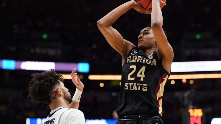 ANAHEIM, CALIFORNIA – MARCH 28: NBA Draft prospect Devin Vassell #24 of the Florida State Seminoles shoots the ball against the Gonzaga Bulldogs during the 2019 NCAA Men's Basketball Tournament West Regional. (Photo by Harry How/Getty Images)