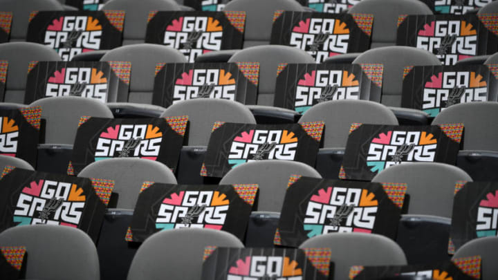 SAN ANTONIO, TX - APRIL 25: A view of posters for the fans prior to Game Six of Round One against the Denver Nuggets during the 2019 NBA Playoffs on April 25, 2019 at the AT&T Center in San Antonio, Texas. NOTE TO USER: User expressly acknowledges and agrees that, by downloading and/or using this photograph, user is consenting to the terms and conditions of the Getty Images License Agreement. Mandatory Copyright Notice: Copyright 2019 NBAE (Photos by Garrett Ellwood/NBAE via Getty Images)