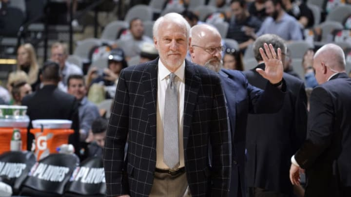 SAN ANTONIO, TX - APRIL 25: Gregg Popovich of the San Antonio Spurs looks on before Game Six of Round One of the 2019 NBA Playoffs on April 25, 2019 at the AT&T Center in San Antonio, Texas. NOTE TO USER: User expressly acknowledges and agrees that, by downloading and/or using this photograph, user is consenting to the terms and conditions of the Getty Images License Agreement. Mandatory Copyright Notice: Copyright 2019 NBAE (Photos by Mark Sobhani/NBAE via Getty Images)