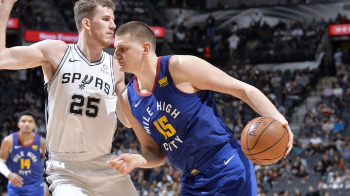 SAN ANTONIO, TX – APRIL 25: Nikola Jokic #15 of the Denver Nuggets handles the ball against the San Antonio Spurs during Game Six of Round One of the 2019 NBA Playoffs on April 25, 2019 at the AT&T Center in San Antonio, Texas. (Photos by Mark Sobhani/NBAE via Getty Images)