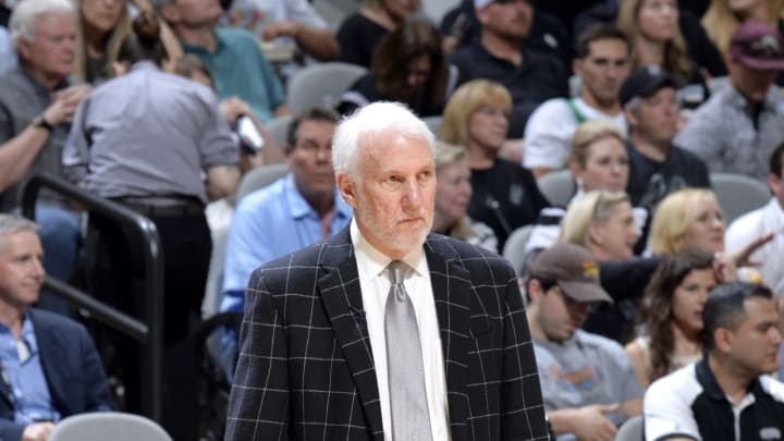 SAN ANTONIO, TX – APRIL 25: Head Coach Gregg Popovich of the San Antonio Spurs during Game Six of Round One of the 2019 NBA Playoffs on April 25, 2019 at the AT&T Center in San Antonio, Texas. (Photos by Mark Sobhani/NBAE via Getty Images)