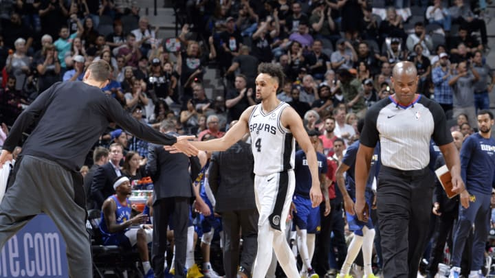 SAN ANTONIO, TX – APRIL 25: Derrick White #4 of the San Antonio Spurs hi-fives teammates during Game Six of Round One against the Denver Nuggets of the 2019 NBA Playoffs on April 25, 2019 at the AT&T Center in San Antonio, Texas. (Photos by Mark Sobhani/NBAE via Getty Images)
