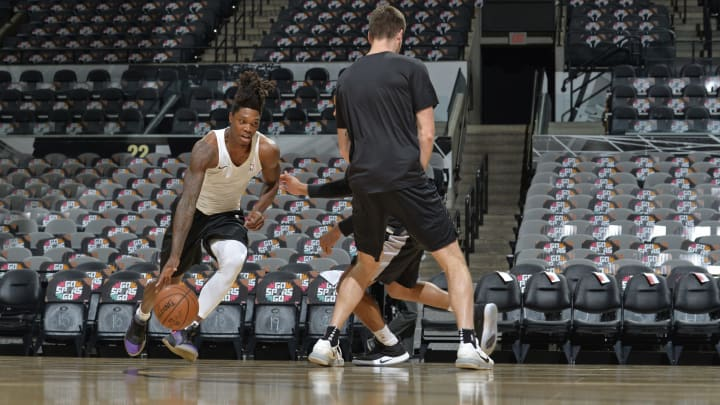 SAN ANTONIO, TX – APRIL 25: Lonnie Walker IV #1 of the San Antonio Spurs warms up before Game Six of Round One against the Denver Nuggets (Photos by Mark Sobhani/NBAE via Getty Images)