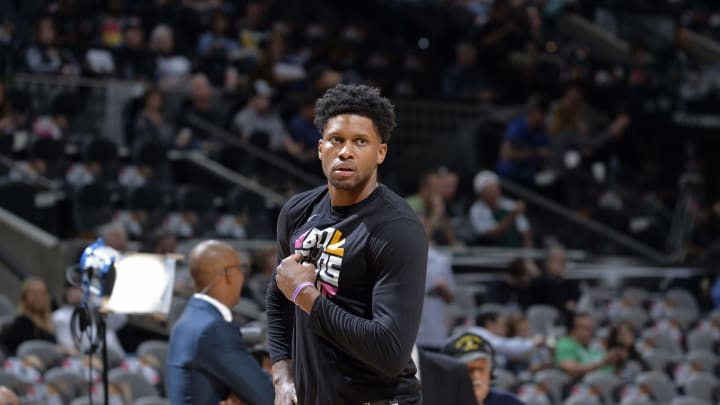 SAN ANTONIO, TX – APRIL 25: Rudy Gay #22 of the San Antonio Spurs looks on before Game Six of Round One of the 2019 NBA Playoffs against the Denver Nuggets (Photos by Mark Sobhani/NBAE via Getty Images)