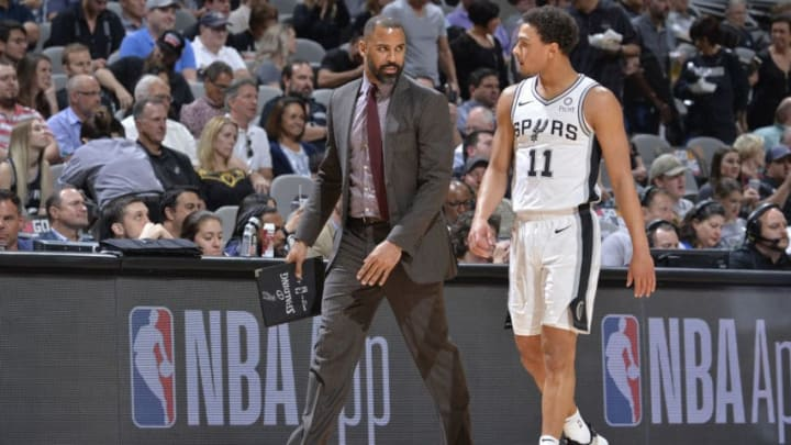 SAN ANTONIO, TX - APRIL 25: Assistant Coach Ime Udoka speaks with Bryn Forbes #11 of the San Antonio Spurs during Game Six of Round One against the Denver Nuggets of the 2019 NBA Playoffs on April 25, 2019 at the AT&T Center in San Antonio, Texas. NOTE TO USER: User expressly acknowledges and agrees that, by downloading and/or using this photograph, user is consenting to the terms and conditions of the Getty Images License Agreement. Mandatory Copyright Notice: Copyright 2019 NBAE (Photos by Mark Sobhani/NBAE via Getty Images)