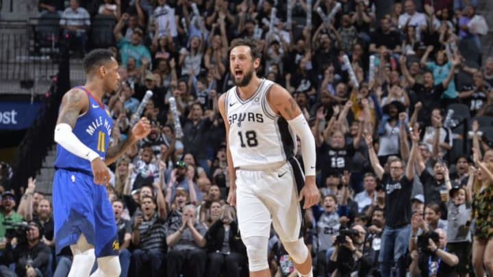 SAN ANTONIO, TX - APRIL 25: Marco Belinelli #18 of the San Antonio Spurs reacts to a play during Game Six of Round One against the Denver Nuggets of the 2019 NBA Playoffs on April 25, 2019 at the AT&T Center in San Antonio, Texas. NOTE TO USER: User expressly acknowledges and agrees that, by downloading and/or using this photograph, user is consenting to the terms and conditions of the Getty Images License Agreement. Mandatory Copyright Notice: Copyright 2019 NBAE (Photos by Mark Sobhani/NBAE via Getty Images)