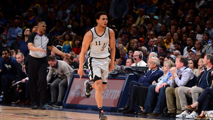 DENVER, CO – APRIL 27: Bryn Forbes #11 of the San Antonio Spurs reacts against the Denver Nuggets during Game Seven of Round One of the 2019 NBA Playoffs (Photo by Bart Young/NBAE via Getty Images)