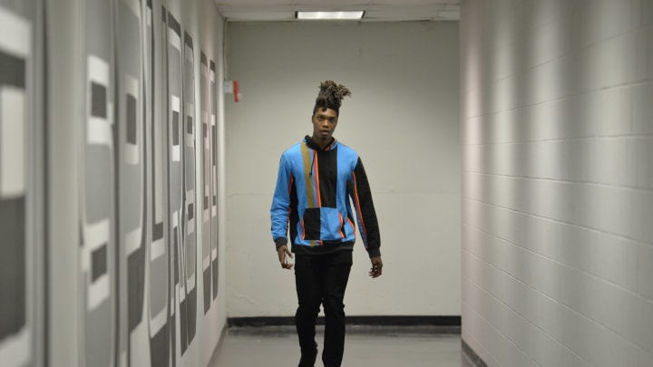 SAN ANTONIO, TX – APRIL 25: Lonnie Walker IV #1 of the San Antonio Spurs arrives before the game against the Denver Nuggets (Photos by Mark Sobhani/NBAE via Getty Images)