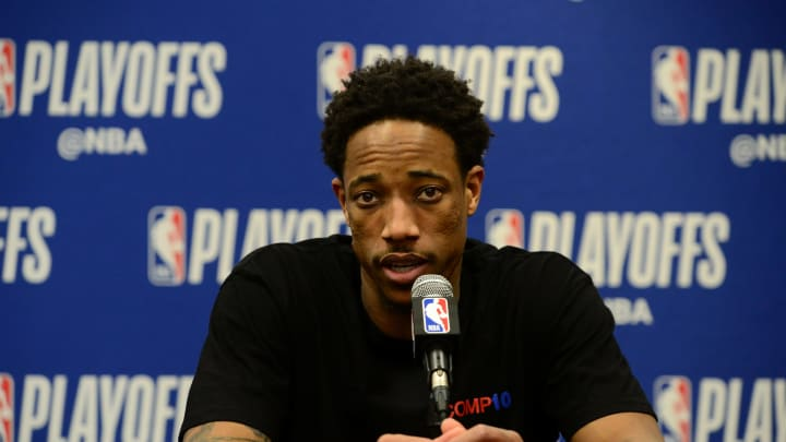 DENVER, CO – APRIL 27: DeMar DeRozan #10 of the San Antonio Spurs talks at the press conference after Game Seven of Round One of the 2019 NBA Playoffs against the Denver Nuggets (Photo by Bart Young/NBAE via Getty Images)
