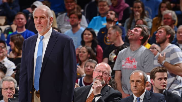 DENVER, CO – APRIL 27: Head Coach Gregg Popovich of the San Antonio Spurs looks on against the Denver Nuggets during Game Seven of Round One of the 2019 NBA Playoffs (Photo by Bart Young/NBAE via Getty Images)