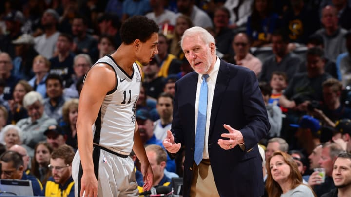 DENVER, CO – APRIL 27: Bryn Forbes #11, and Head Coach Gregg Popovich of the San Antonio Spurs talk during Game Seven of Round One of the 2019 NBA Playoffs against the Denver Nuggets on April 27, 2019 at the Pepsi Center in Denver, Colorado. (Photo by Bart Young/NBAE via Getty Images)