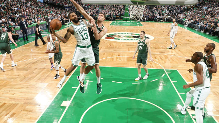 BOSTON, MA – MAY 3: Marcus Morris #13 of the Boston Celtics shoots the ball against Milwaukee during Game Three of the Eastern Conference Semi Finals of the 2019 NBA Playoffs (Photo by Nathaniel S. Butler/NBAE via Getty Images)