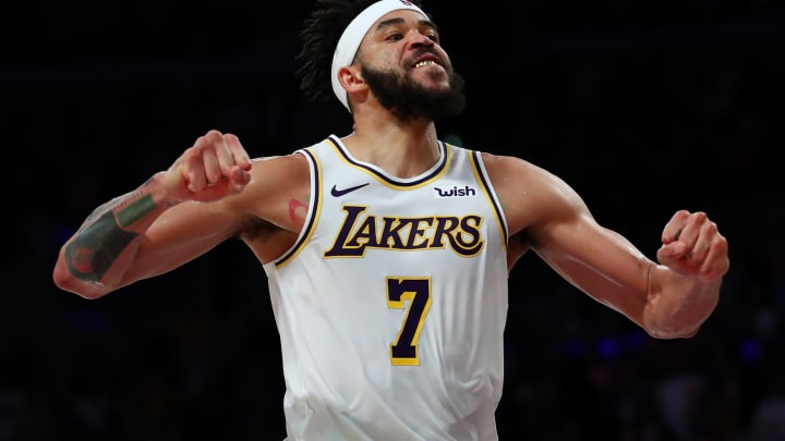 LOS ANGELES, CALIFORNIA – APRIL 07: JaVale McGee #7 of the Los Angeles Lakers celebrates after a dunk against the Utah Jazz late in the fourth quarter at Staples Center on April 07, 2019 in Los Angeles, California. (Photo by Yong Teck Lim/Getty Images)